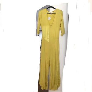 Free People Beach Yellow Green Backless Jumpsuit